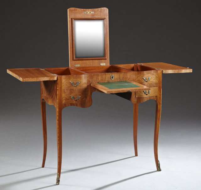 French Louis XV Style Marquetry Inlaid Mahogany - 2
