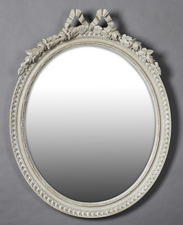 Louis XV Style Carved Wood Oval Overmantel Mirror, late