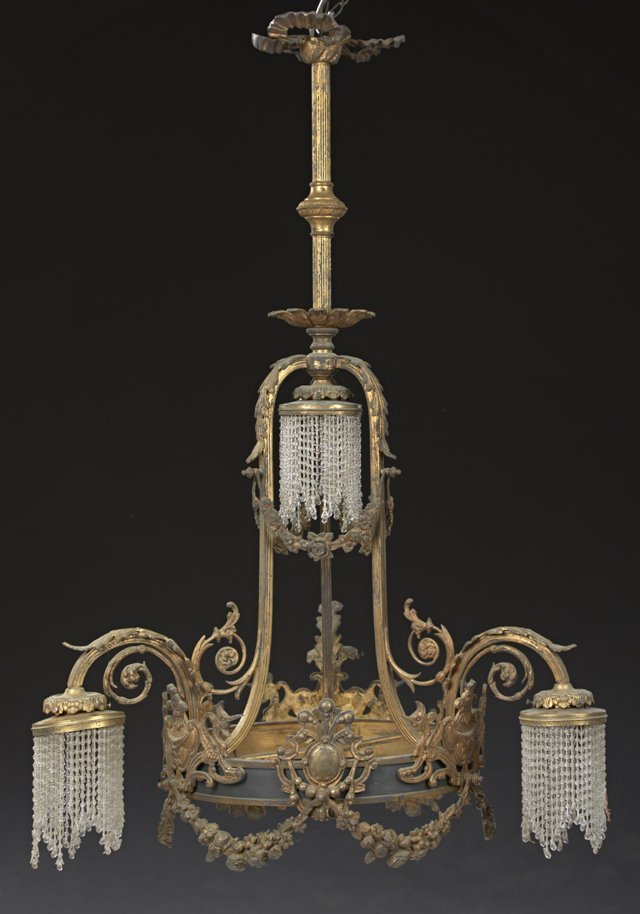 French Louis XVI Style Gilt Bronze Chandelier, c. 1900,