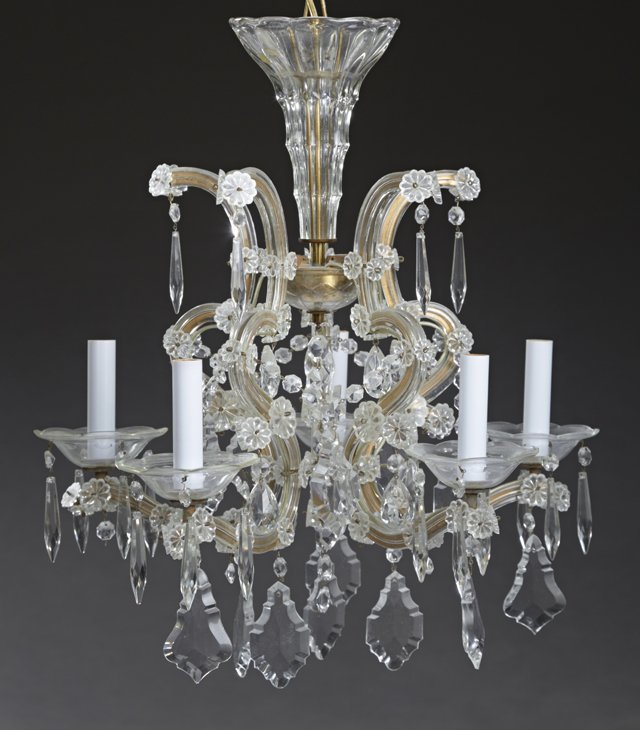 Louis XV Style Cut Glass and Brass Five Light