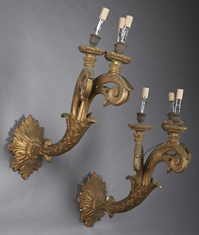 Large Pair of Carved Wood and Gesso Three Light