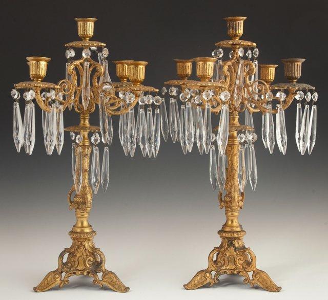 Pair of Gilt Spelter Five Light Louis XV Style