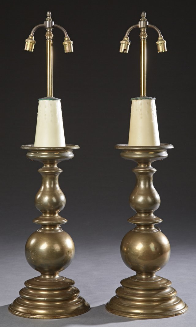 Pair of Dutch Style Bronze Candlestick Form Lamps,