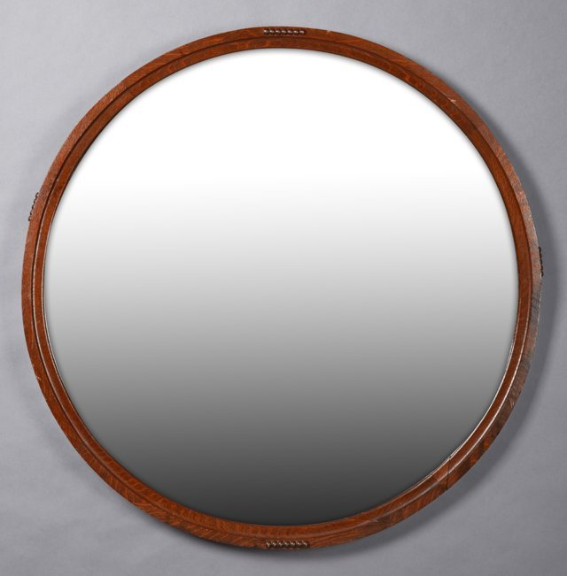 American Carved Oak Circular Mirror, 20th c., the