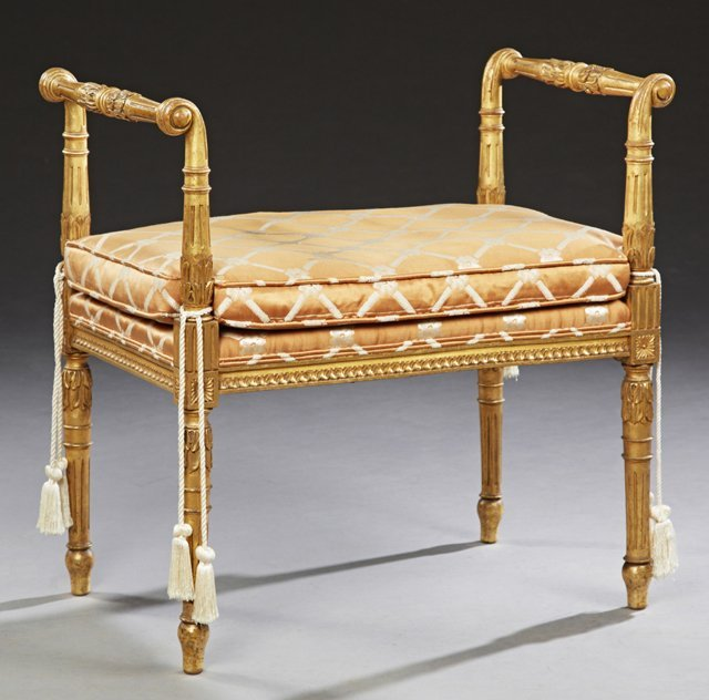 Louis XVI Style Carved Giltwood Stool, early 20th c.,