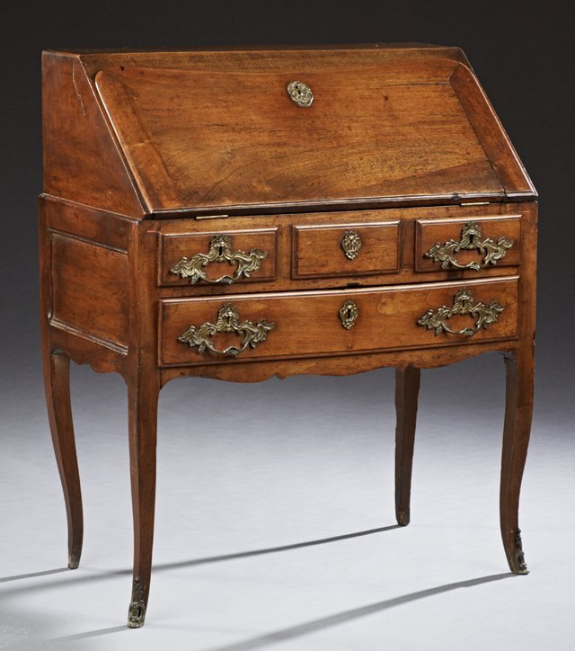 French Louis XV Style Carved Walnut Slant Front Desk,