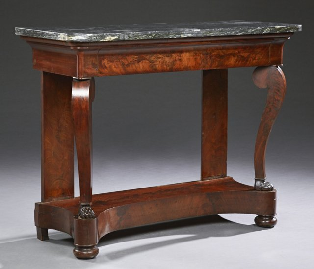 French Empire Style Carved Walnut Marble Top Console
