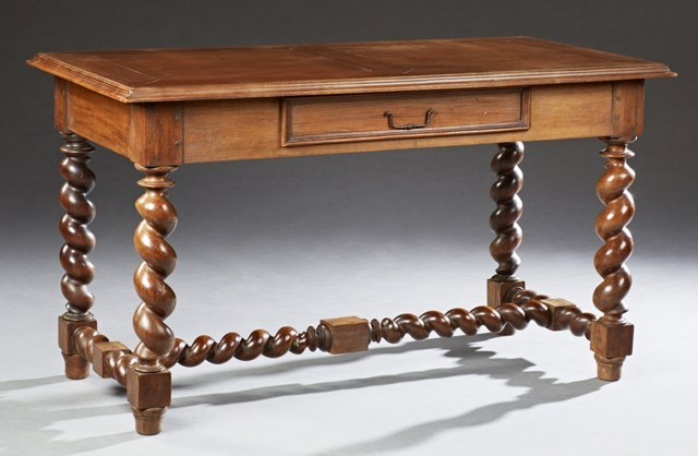 Louis XIII Style Carved Walnut Writing Table, late 19th
