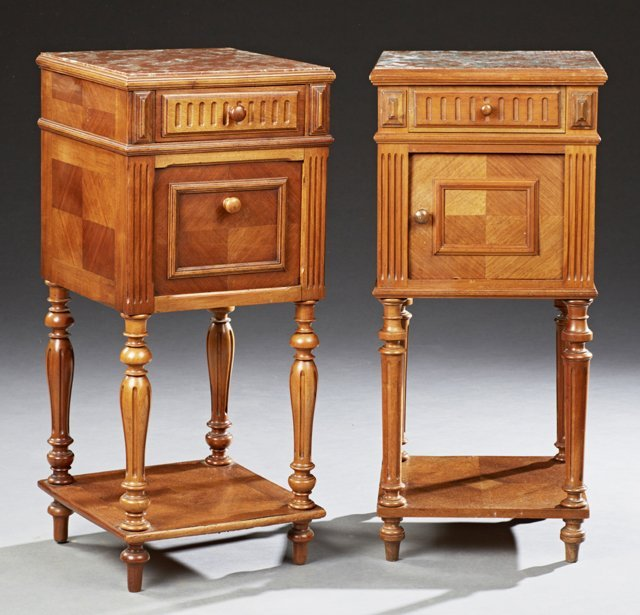 Pair of Henri II Carved Walnut Marble Top Nightstands,