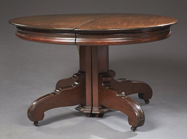 American Carved Mahogany Circular Dining Table, c.