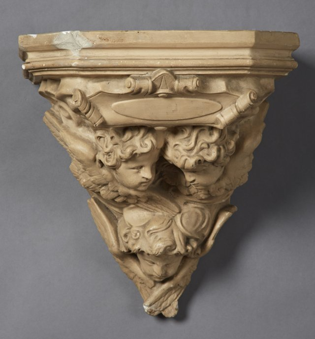 Large French Patinated Plaster Wall Bracket, early 20th