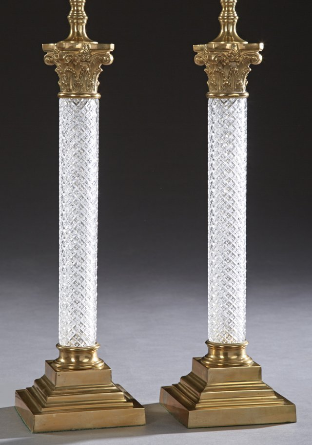 Pair of Brass and Crystal Column Lamps, 20th c., of