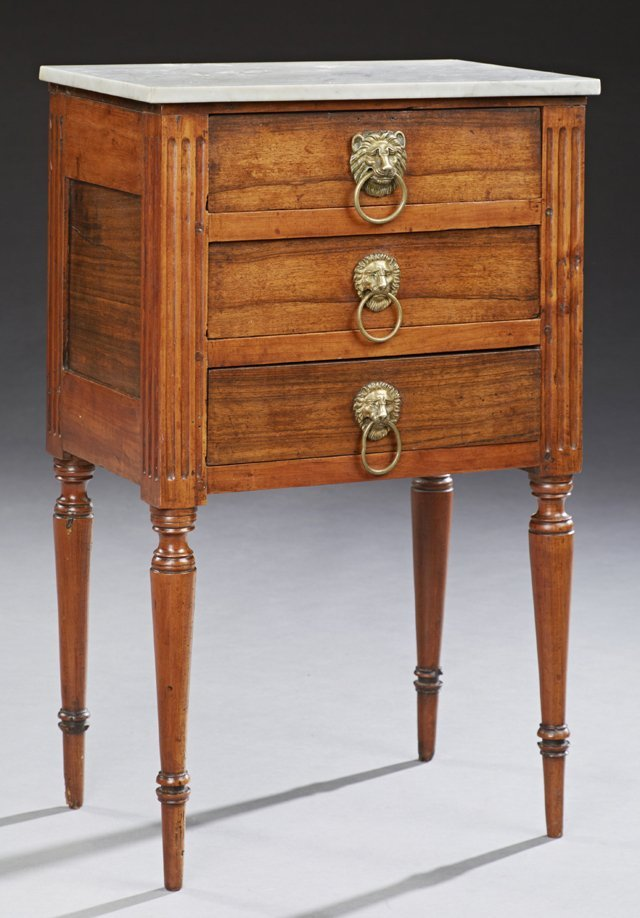 French Louis XVI Style Marble Top Nightstand, late 19th