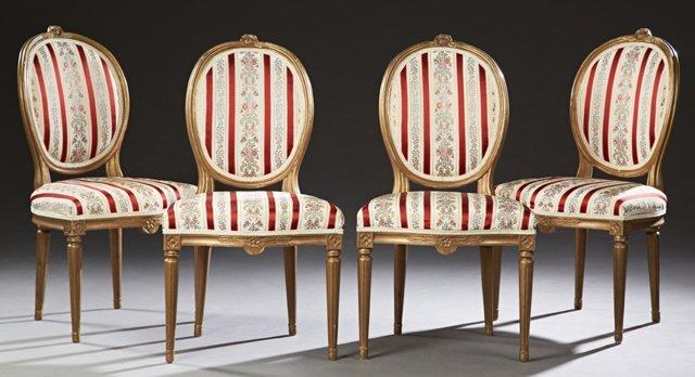 Set of Four Louis XVI Style Gilt Upholstered Medallion