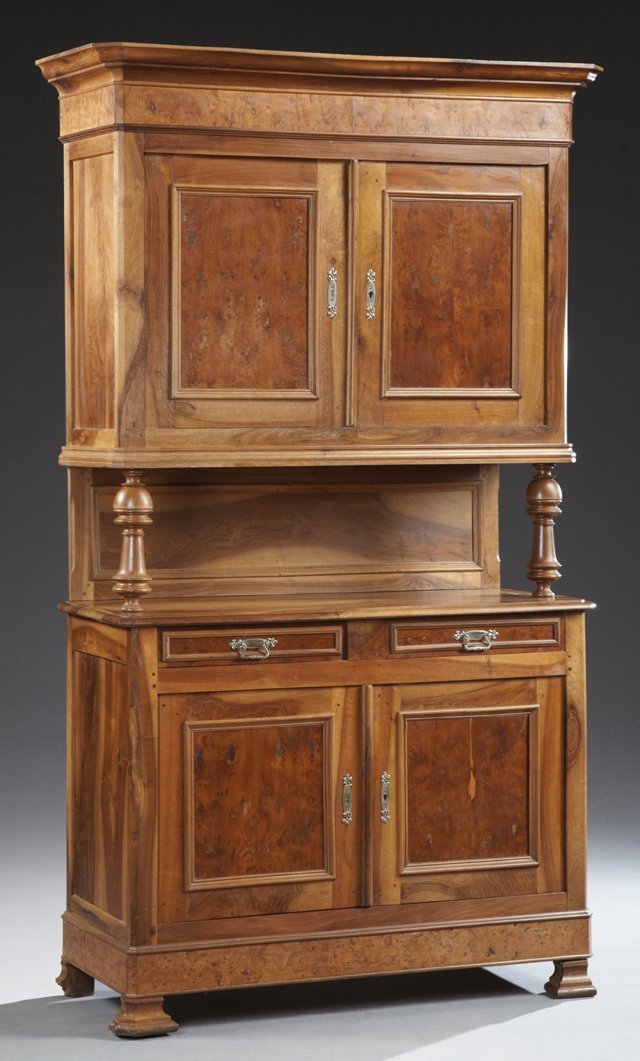 French Louis Philippe Carved Walnut and Elm Buffet a