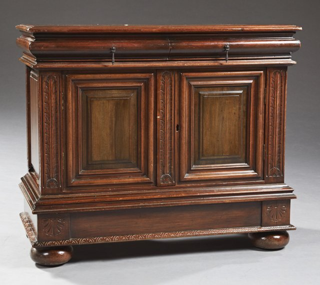 Louis XIII Style Carved Walnut Sideboard, 19th c., the