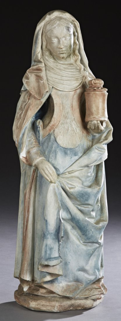 French Polychromed Standing Plaster Figure of the