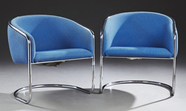 Pair of Mid-Century Modern Lounge Club Chairs, 20th c.,