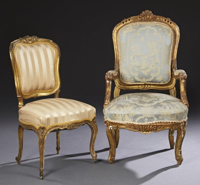 Two French Louis XV Style Carved Giltwood Parlor