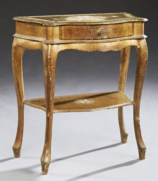 Italian Florentine Style Gilt Decorated Bowfront Side