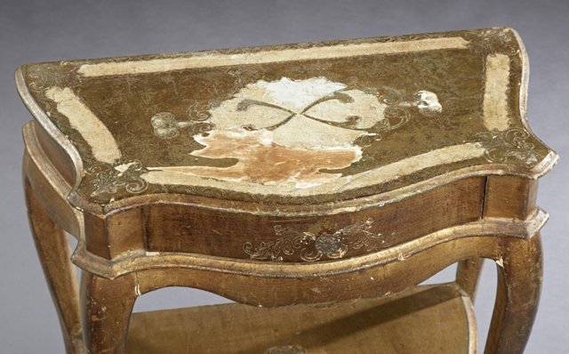 Italian Florentine Style Gilt Decorated Bowfront Side - 2