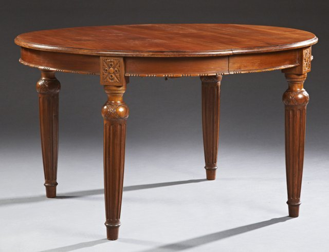 French Louis XVI Style Carved Mahogany Oval Dining