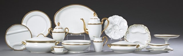 Sixty Piece Set of Limoges Porcelain Dinnerware, early