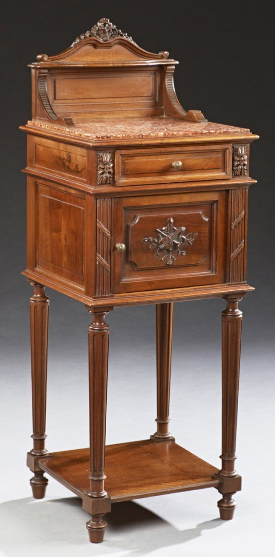 Louis XVI Style Carved Walnut Marble Top Nightstand, c.