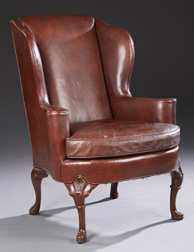 Queen Anne Style Carved Mahogany Leather Wing Chair,