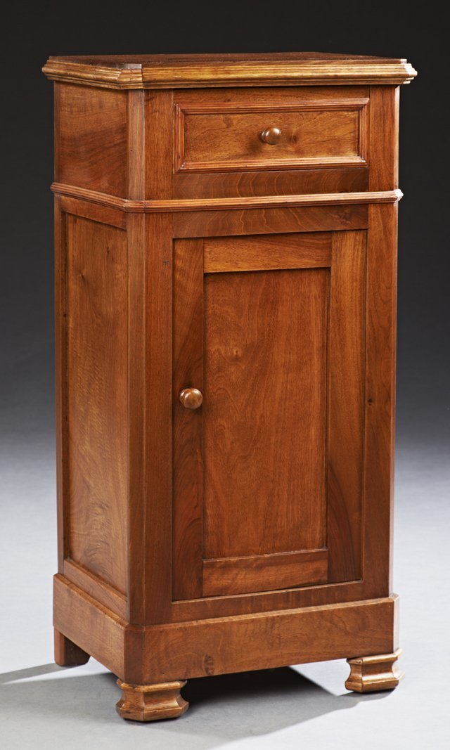 French Louis Philippe Style Carved Walnut Nightstand,