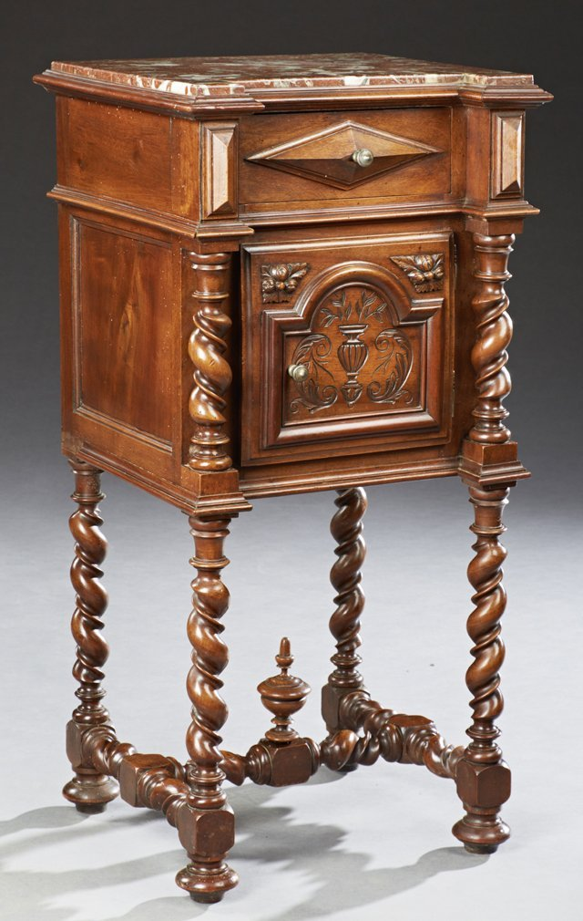 Henri II Carved Walnut Marble Top Nightstand, c. 1880,