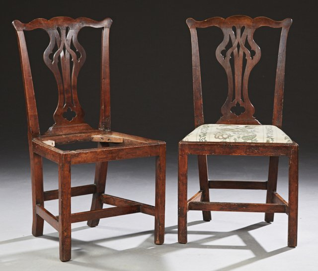 Pair of English Georgian Carved Mahogany Side Chairs,