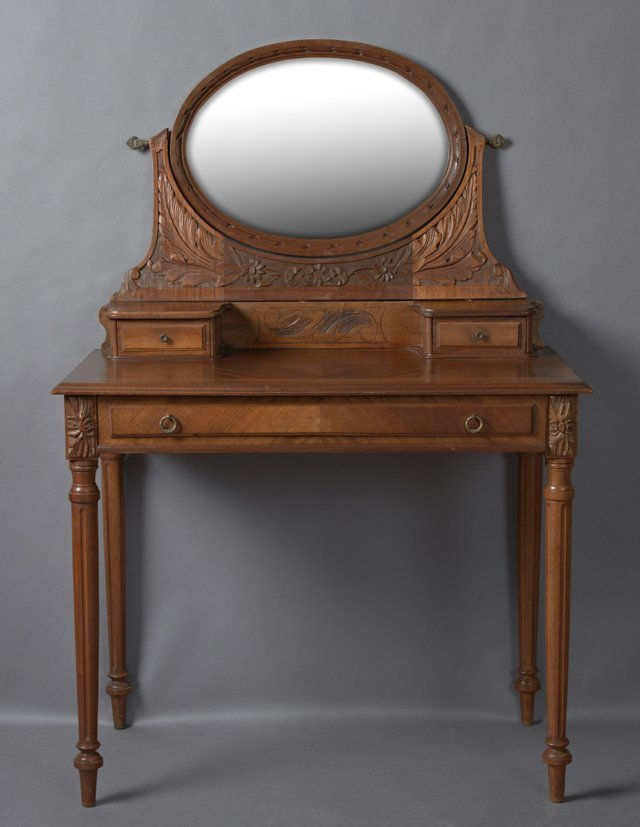 French Louis XVI Style Carved Walnut Dressing Table,