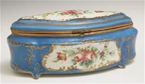 A Sevres Style Porcelain Dresser Box, 19th c., of