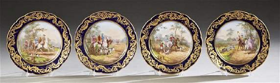 Set of Four French Sevres Style Hand Painted Porcelain