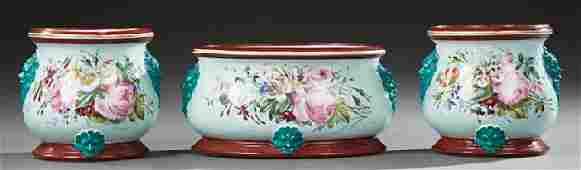 Three Piece French Porcelain Mantle Garniture, 19th c.,