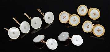 Group of Nine Pieces of MotherofPearl and Gold