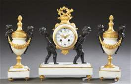 French Gilt and Patinated Bronze Three Piece Clock Set