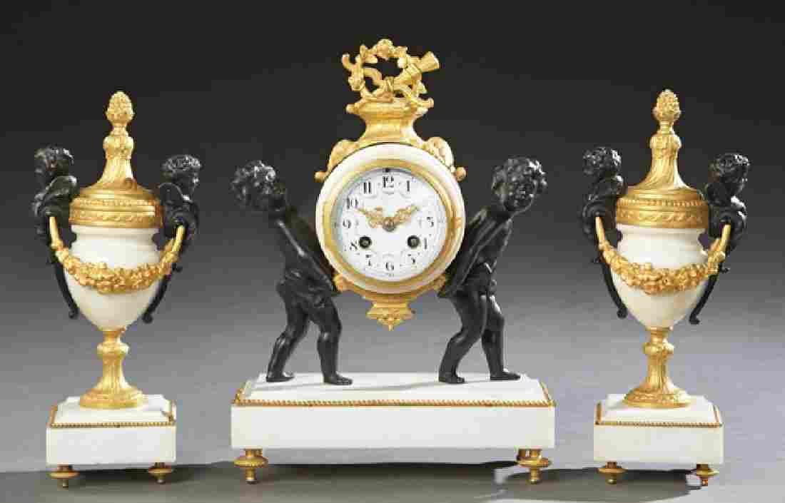 French Gilt and Patinated Bronze Three Piece Clock Set,