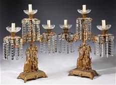 Pair of Gilt Spelter Three Light Girandoles, 19th c.,