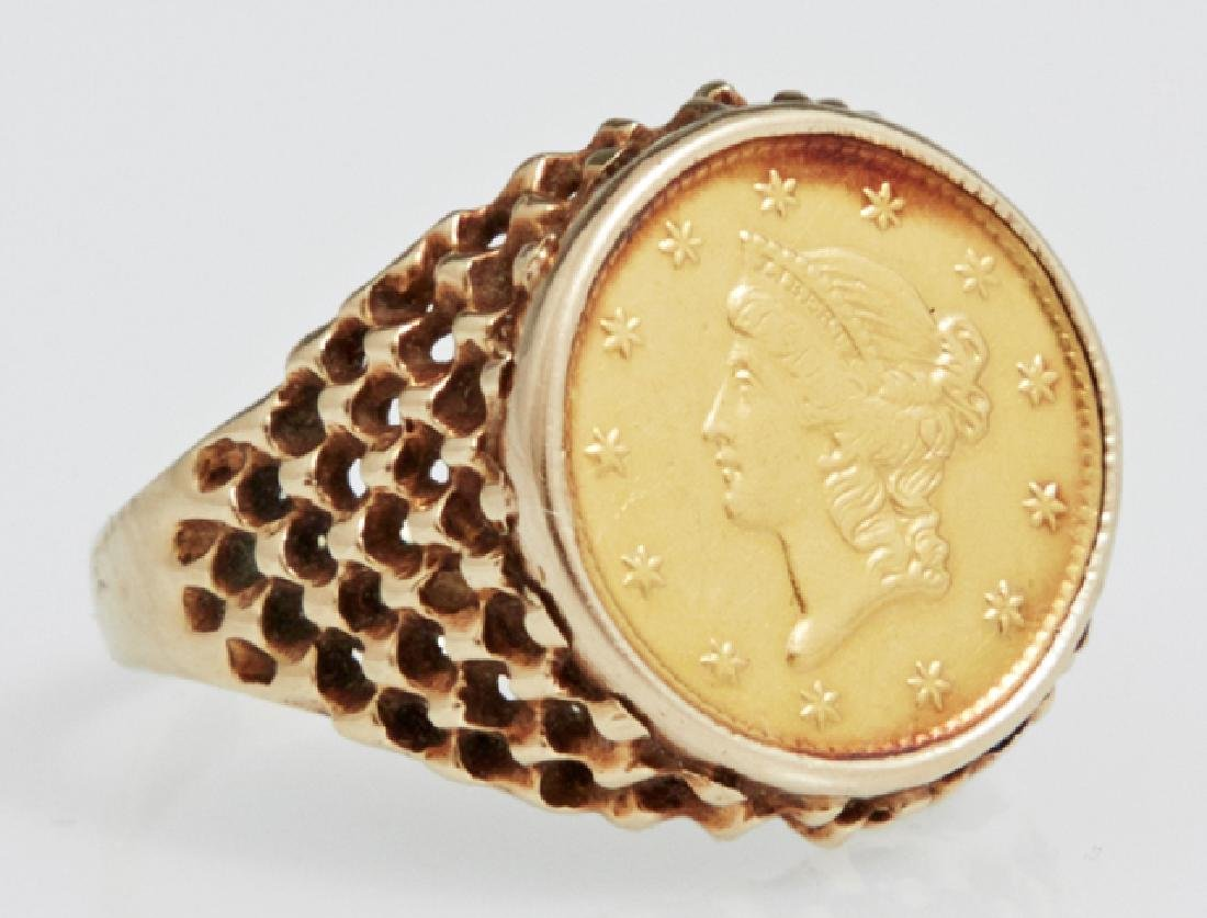 Lady's 14K Yellow Gold Dinner Ring, with an 1851-C US