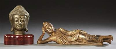 Two Oriental Figures 20th c consisting of a bronze