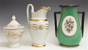Three Pieces of French Porcelain 19th c consisting