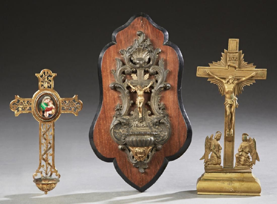 Group of Three French Religious Items, 19th c.,