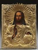 Russian Icon 19th c of Christ the Savior oil on