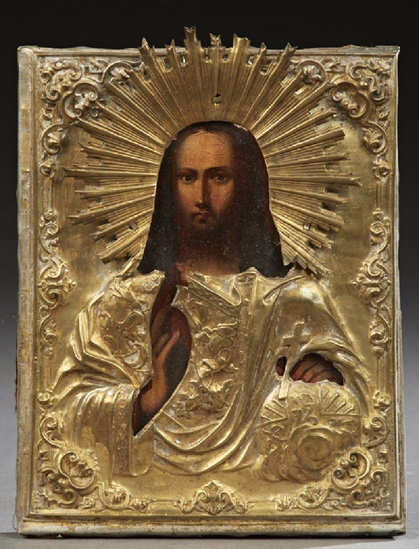Russian Icon, 19th c., of Christ the Savior, oil on