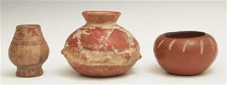 Group of Three Pre-Columbian Pottery Baluster Pots,