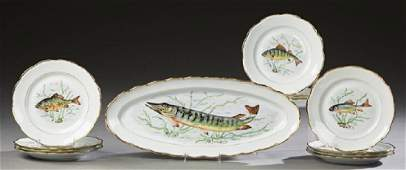 French Thirteen Piece Porcelain Fish Set, early 20th