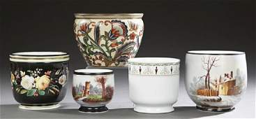 Group of Five French Porcelain Jardinieres, 19th and