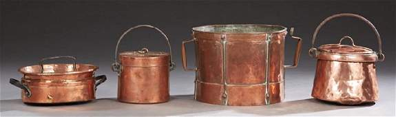 Group of Four French Copper Kitchen Items, 19th c.,